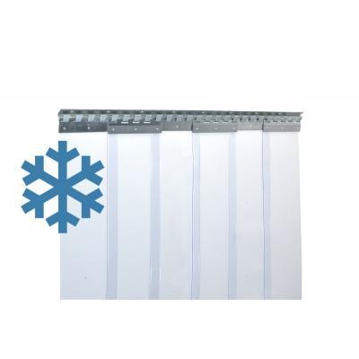 PVC-Streifenvorhang extrem Kältefest für Kühlhaus, Lamellen 200 x 2 mm transparent, Höhe 2,00 m, Breite 1,05 m (0,80 m), Edelstahl