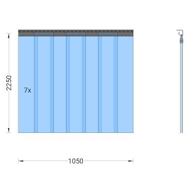 PVC-Streifenvorhang, Lamellen 200 x 2 mm transparent, Höhe 2,25 m, Breite 1,05 m (0,80 m), Edelstahl