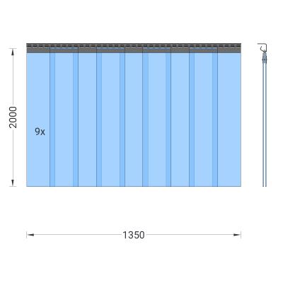 PVC-Streifenvorhang, Lamellen 200 x 2 mm transparent, Höhe 2,00 m, Breite 1,35 m (1,00 m), Edelstahl