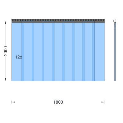 PVC-Streifenvorhang, Lamellen 200 x 2 mm transparent, Höhe 2,00 m, Breite 1,80 m (1,30 m), Edelstahl