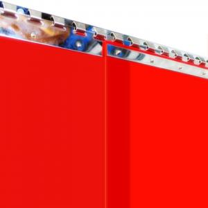 Schweißerschutz PVC-Streifenvorhang, Lamellen 300 x 2 mm rot-transparent (ISO 25980), Höhe 3,00 m, Breite 2,50 m (2,10 m), verzinkt