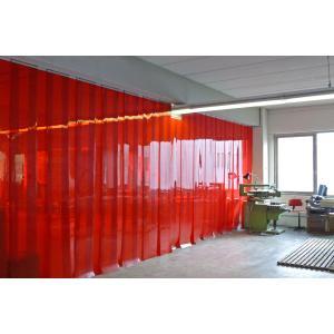 Schweißerschutz PVC-Streifenvorhang, Lamellen 300 x 2 mm rot-transparent (ISO 25980), Höhe 2,75 m, Breite 2,00 m (1,70 m), verzinkt