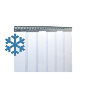 PVC-Streifenvorhang extrem Kältefest für Kühlhaus, Lamellen 200 x 2 mm transparent, Höhe 2,75 m, Breite 1,35 m (1,00 m), Edelstahl
