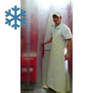 PVC-Streifenvorhang Tiefkühlbereich kältefest Temperatur Resistenz +30/-25°C, Lamellen 200 x 2 mm transparent, Höhe 2,00 m, Breite 1,20 m (0,90 m), Edelstahl