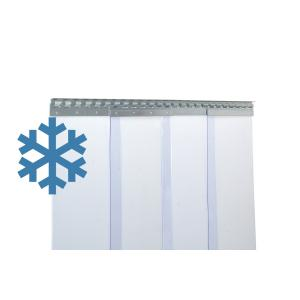 PVC-Streifenvorhang Tiefkühlbereich kältefest Temperatur Resistenz +30/-25°C, Lamellen 300 x 3 mm transparent, Höhe 2,75 m, Breite 2,75 m (2,30 m), Edelstahl
