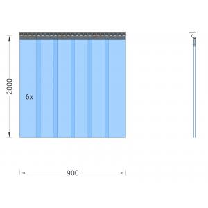 PVC-Streifenvorhang, Lamellen 200 x 2 mm transparent, Höhe 2,00 m, Breite 0,90 m (0,70 m), Edelstahl