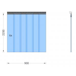 PVC-Streifenvorhang, Lamellen 200 x 2 mm transparent, Höhe 2,25 m, Breite 0,90 m (0,70 m), Edelstahl