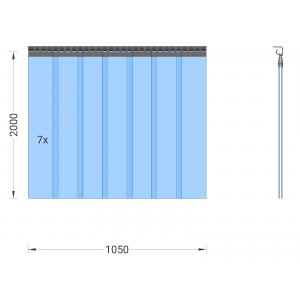 PVC-Streifenvorhang, Lamellen 200 x 2 mm transparent, Höhe 2,00 m, Breite 1,05 m (0,80 m), Edelstahl