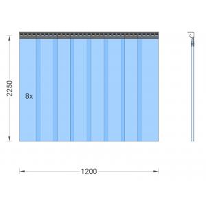 PVC-Streifenvorhang, Lamellen 200 x 2 mm transparent, Höhe 2,25 m, Breite 1,20 m (0,90 m), Edelstahl