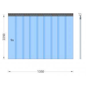 PVC-Streifenvorhang, Lamellen 200 x 2 mm transparent, Höhe 2,25 m, Breite 1,35 m (1,00 m), Edelstahl