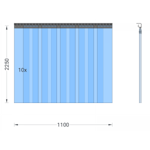 PVC-Streifenvorhang, Lamellen 200 x 2 mm transparent, Höhe 2,25 m, Breite 1,50 m (1,10 m), Edelstahl