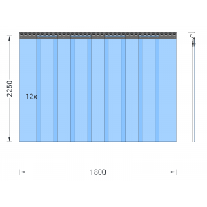 PVC-Streifenvorhang, Lamellen 200 x 2 mm transparent, Höhe 2,25 m, Breite 1,80 m (1,30 m), Edelstahl