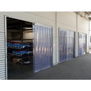 PVC-Streifenvorhang, Lamellen 200 x 2 mm transparent, Höhe 2,00 m, Breite 2,10 m (1,50 m), Edelstahl