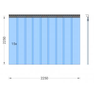 PVC-Streifenvorhang, Lamellen 200 x 2 mm transparent, Höhe 2,25 m, Breite 2,25 m (1,60 m), Edelstahl