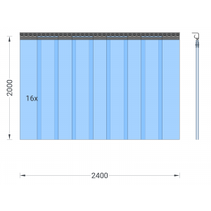 PVC-Streifenvorhang, Lamellen 200 x 2 mm transparent, Höhe 2,00 m, Breite 2,40 m (1,70 m), Edelstahl
