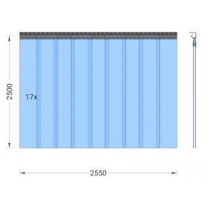 PVC-Streifenvorhang, Lamellen 200 x 2 mm transparent, Höhe 2,50 m, Breite 2,55 m (1,80 m), Edelstahl