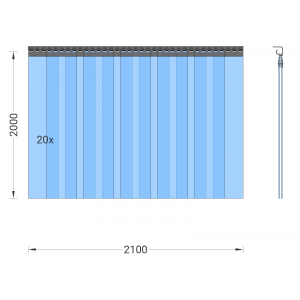 PVC-Streifenvorhang, Lamellen 200 x 2 mm transparent, Höhe 2,00 m, Breite 3,00 m (2,10 m), Edelstahl