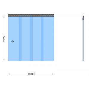 PVC-Streifenvorhang, Lamellen 300 x 3 mm transparent, Höhe 2,25 m, Breite 1,00 m (0,90 m), verzinkt