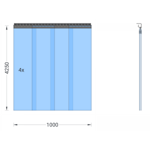 PVC-Streifenvorhang, Lamellen 300 x 3 mm transparent, Höhe 4,25 m, Breite 1,00 m (0,90 m), verzinkt
