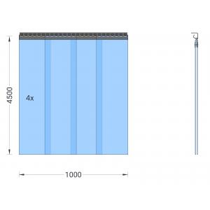 PVC-Streifenvorhang, Lamellen 300 x 3 mm transparent, Höhe 4,50 m, Breite 1,00 m (0,90 m), verzinkt