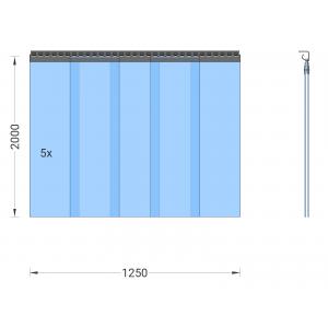 PVC-Streifenvorhang, Lamellen 300 x 3 mm transparent, Höhe 2,00 m, Breite 1,25 m (1,10 m), verzinkt