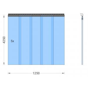 PVC-Streifenvorhang, Lamellen 300 x 3 mm transparent, Höhe 4,25 m, Breite 1,25 m (1,10 m), verzinkt