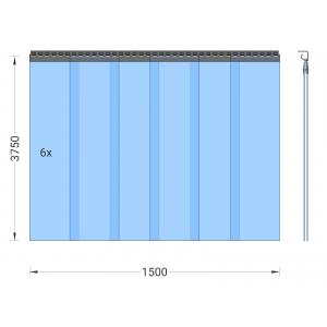 PVC-Streifenvorhang, Lamellen 300 x 3 mm transparent, Höhe 3,75 m, Breite 1,50 m (1,30 m), verzinkt