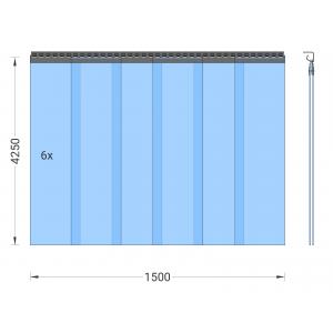 PVC-Streifenvorhang, Lamellen 300 x 3 mm transparent, Höhe 4,25 m, Breite 1,50 m (1,30 m), verzinkt