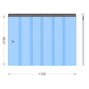 PVC-Streifenvorhang, Lamellen 300 x 3 mm transparent, Höhe 2,75 m, Breite 1,75 m (1,50 m), verzinkt