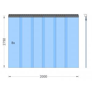PVC-Streifenvorhang, Lamellen 300 x 3 mm transparent, Höhe 2,75 m, Breite 2,00 m (1,70 m), verzinkt