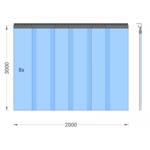 PVC-Streifenvorhang, Lamellen 300 x 3 mm transparent, Höhe 3,00 m, Breite 2,00 m (1,70 m), verzinkt