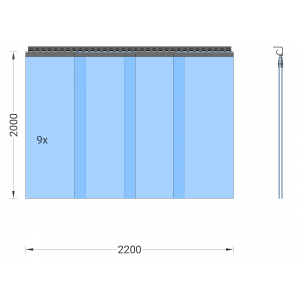 PVC-Streifenvorhang, Lamellen 400 x 4 mm transparent, Höhe 2,00 m, Breite 2,50 m (2,25 m), verzinkt