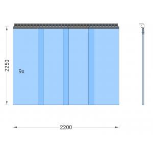 PVC-Streifenvorhang, Lamellen 400 x 4 mm transparent, Höhe 2,25 m, Breite 2,50 m (2,25 m), Edelstahl