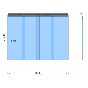 PVC-Streifenvorhang, Lamellen 400 x 4 mm transparent, Höhe 2,25 m, Breite 3,70 m (3,25 m), Edelstahl