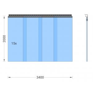 PVC-Streifenvorhang, Lamellen 400 x 4 mm transparent, Höhe 2,00 m, Breite 4,30 m (3,75 m), verzinkt