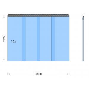 PVC-Streifenvorhang, Lamellen 400 x 4 mm transparent, Höhe 2,25 m, Breite 4,30 m (3,75 m), Edelstahl