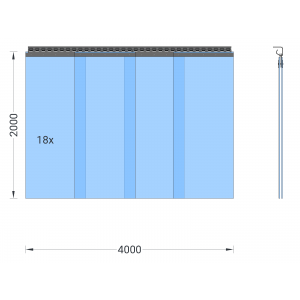 PVC-Streifenvorhang, Lamellen 400 x 4 mm transparent, Höhe 2,00 m, Breite 5,20 m (4,50 m), verzinkt