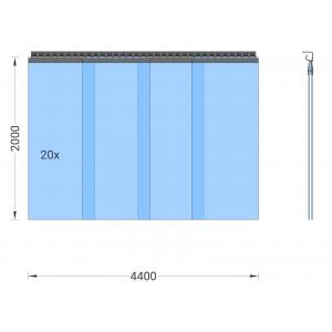 PVC-Streifenvorhang, Lamellen 400 x 4 mm transparent, Höhe 2,00 m, Breite 5,80 m (5,00 m), Edelstahl