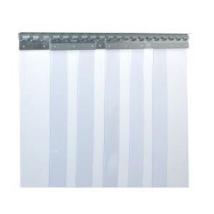 PVC-Streifenvorhang, Lamellen 200 x 2 mm transparent, Höhe 2,25 m, Breite 1,20 m (0,90 m), verzinkt
