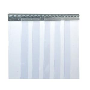 PVC-Streifenvorhang, Lamellen 200 x 2 mm transparent, Höhe 2,25 m, Breite 1,50 m (1,10 m), verzinkt
